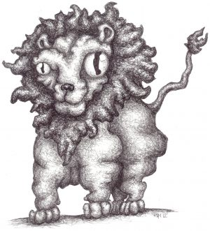 matted print lion