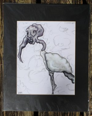 matted print wood stork