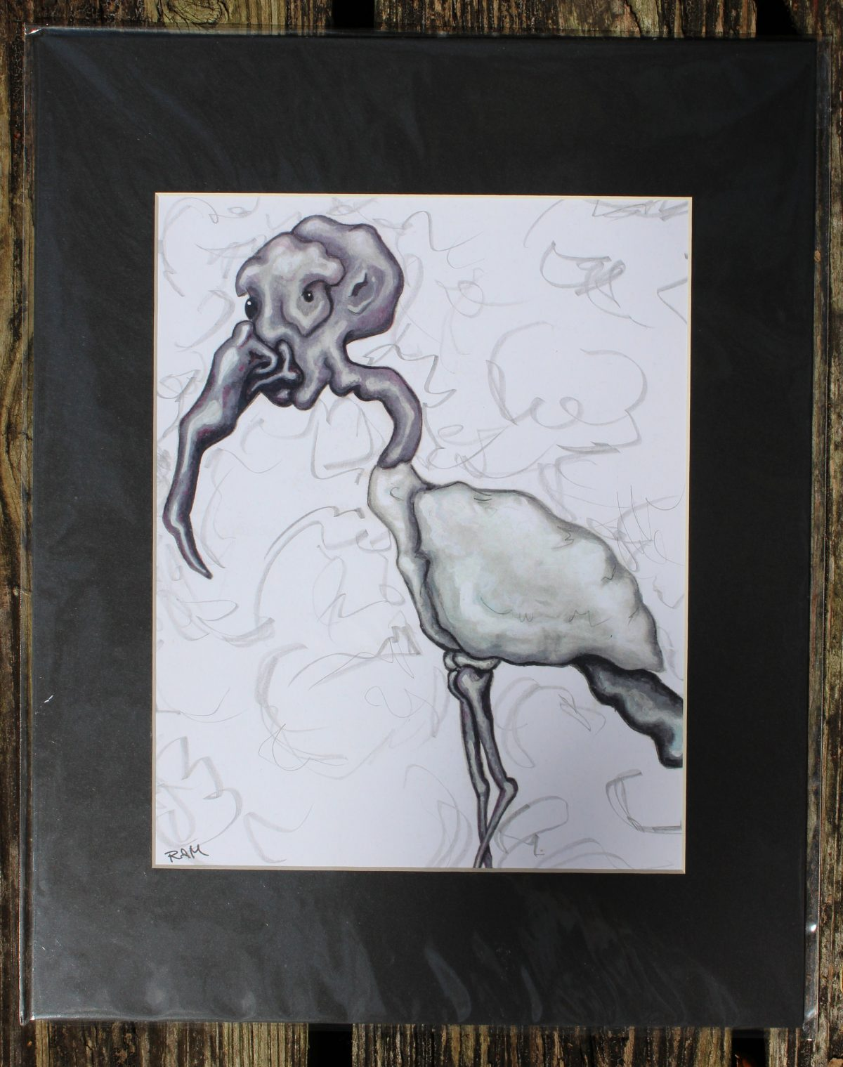 matted print wood stork